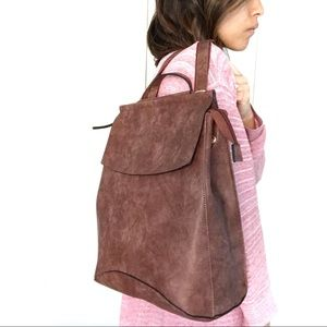 NWT Vegan Leather Brown Convertible Backpack Purse